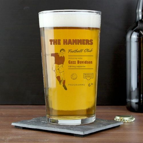Personalised Vintage Claret's Football Supporter's Pint Glass